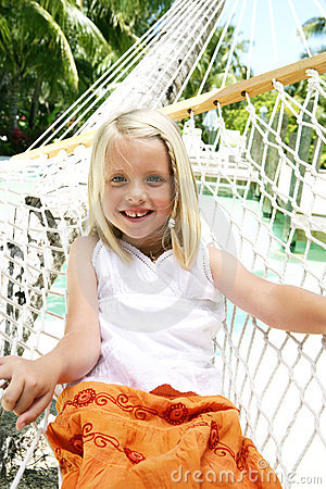 Smiling girl on hammock