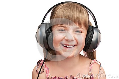 The smiling girl in the headphones