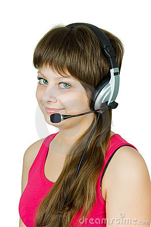 Smiling girl in headphones with microphone