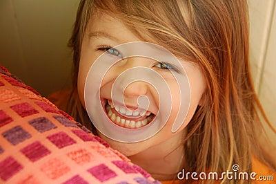 Smiling girl hiding
