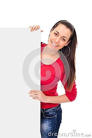 Smiling girl holding blank board
