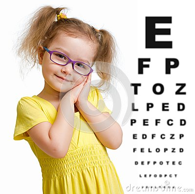 Free Smiling Girl In Glasses With Eye Chart Isolated Royalty Free Stock Image - 47457336