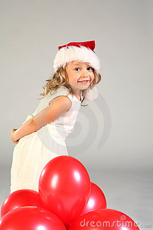 Free Smiling Girl In Santa Hat Royalty Free Stock Photos - 3294978