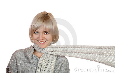 The smiling girl with a long scarf