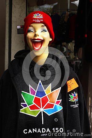 Smiling girl, Red Hat, Jacket, Sport Store, Canada 150