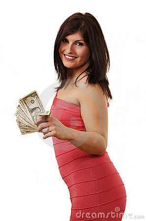 Smiling girl with money
