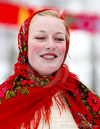 Smiling girl in national costume