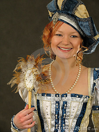 Smiling Girl in Polish clothes of 16 century with mirror-fan