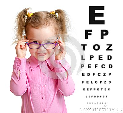 Free Smiling Girl Putting On Glasses With Blurry Eye Royalty Free Stock Image - 47490726