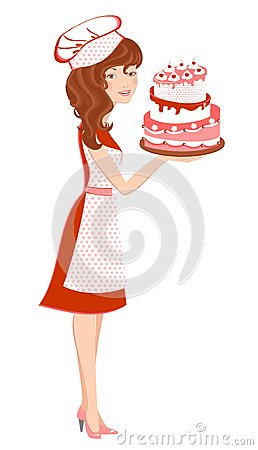 Smiling girl in red with cake