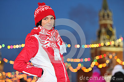 Smiling girl at GUM-Skating rink on Red Square