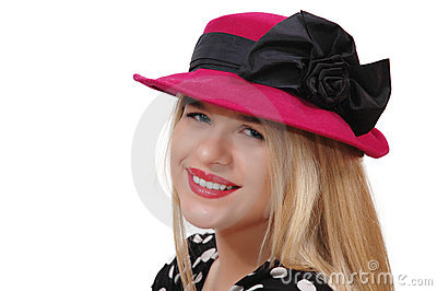 Smiling girl with red hat