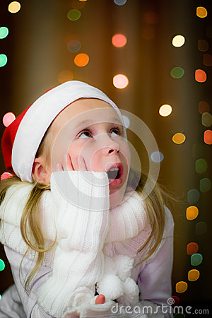 Smiling girl in santa hat
