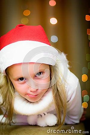Smiling girl in santa hat