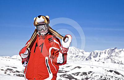 Smiling girl snowboarder