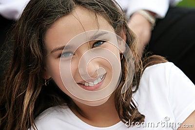 Smiling girl in soft focus