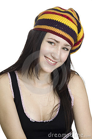 Smiling  girl in striped beret on white backgroun