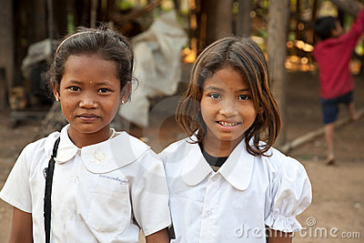 Smiling girl students, Cambodia Editorial Stock Photo