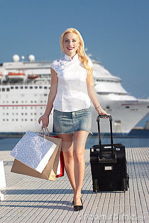 Free Smiling Girl Walking On Pier Stock Images - 9063434