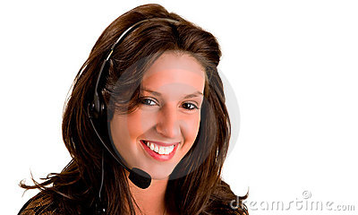Smiling Girl Wearing Headset