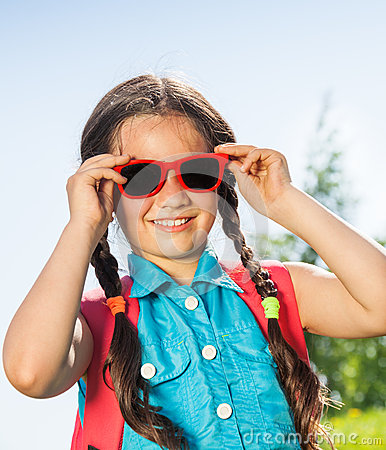 Free Smiling Girl Wearing Sunglasses With Two Braids Royalty Free Stock Photography - 41851657