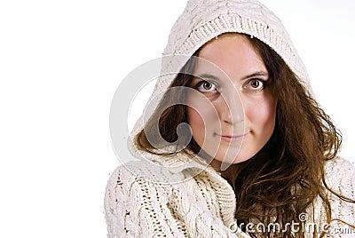 Smiling girl on white background