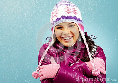 Smiling girl in winter