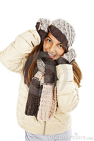 Smiling girl in winter style