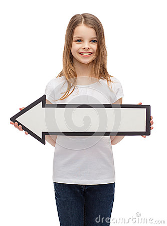 Free Smiling Girl With Blank Arrow Pointing Left Stock Photography - 41313962