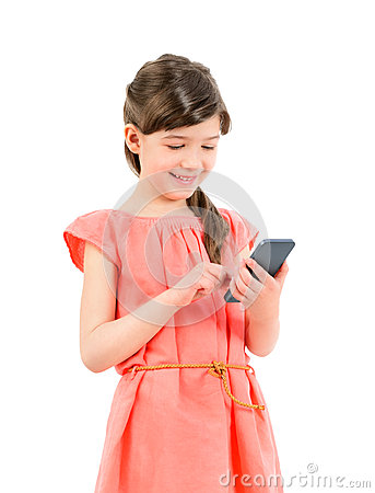 Free Smiling Girl With Mobile Phone Royalty Free Stock Photos - 30484468