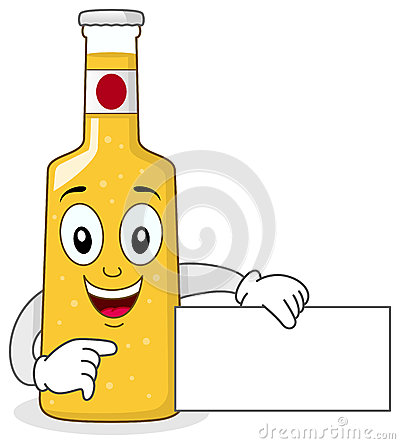 Smiling Glass Beer Bottle Character