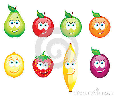 Smiling glossy fruits