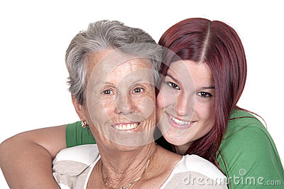 Smiling grandmother and her granddaughter