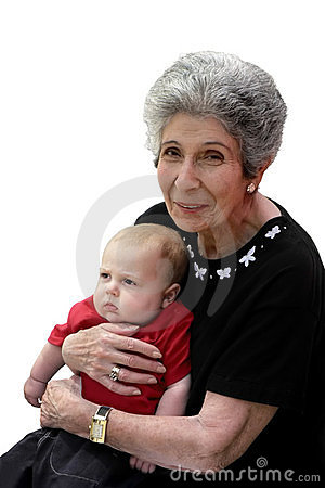 Smiling great-grandmother and pouting great-grandchild