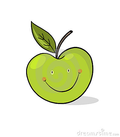 Apple cartoon; Smiling green apple illustration