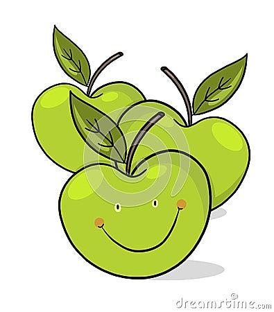 Smiling green apples illustration