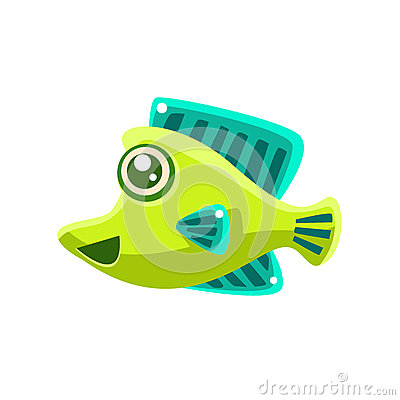 Free Smiling Green Fantastic Aquarium Tropical Fish Cartoon Character Stock Photos - 80310873