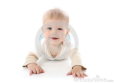 Smiling Happy Baby on White
