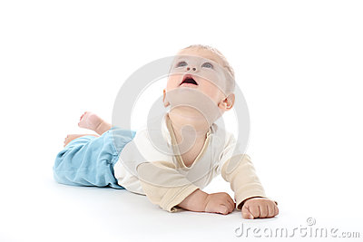 Smiling Happy Baby on White Looking Up