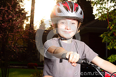 Smiling Happy Biker at Dusk