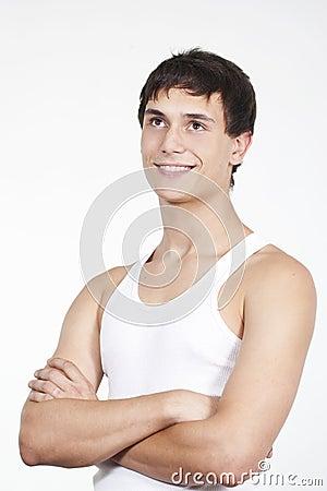 Smiling happy glad men