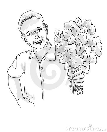 Smiling happy man with flowers
