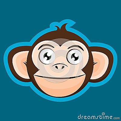 Happy Cartoon Gorilla Face Smiling Happy M...