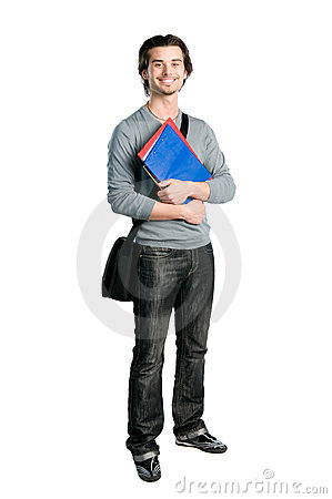 Smiling happy student standing with notes