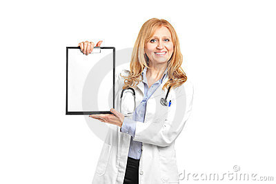 Smiling healthcare professional holding clipboard