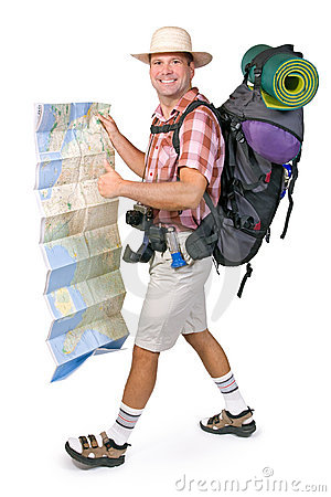 Smiling hiker with map