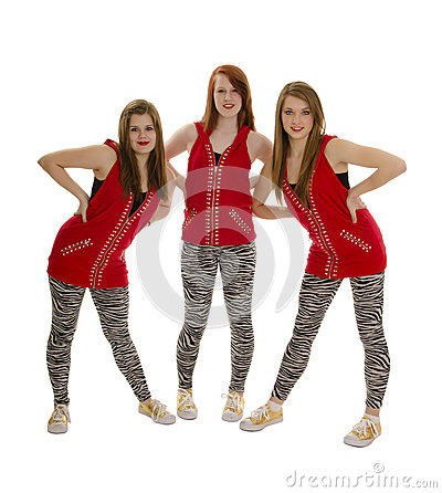 Smiling Hip Hop Dancers in Red