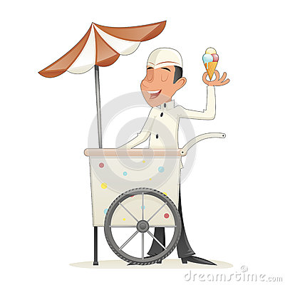 Smiling Ice Cream Seller with Cart Retro Vintage Cartoon Character Icon Isolated Retro Cartoon Design Vector Vector Illustration