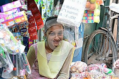 Smiling Indian Girl in Varanasi Editorial Image