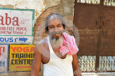 Smiling Indian Man in Varanasi Editorial Image